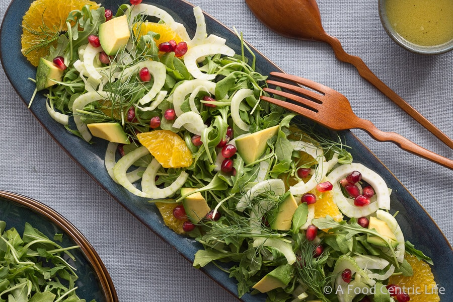 Easy Arugula Salad with Roasted Fennel