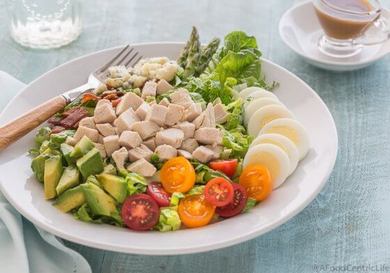 Colorful Cobb Salad on a plate | AFoodCentricLife.com