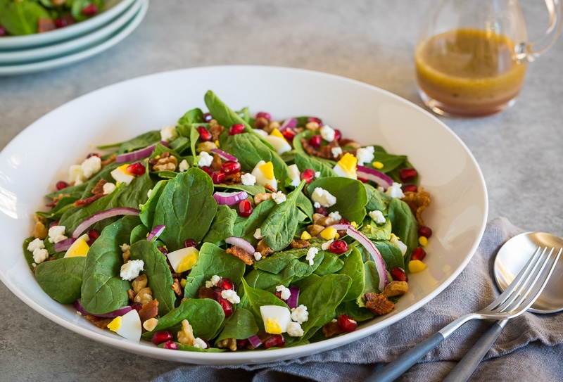 pomegranate spinach salad | AFoodCentricLife.com