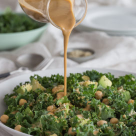 curly kale salad tahini dressing | AFoodCentricLife.com