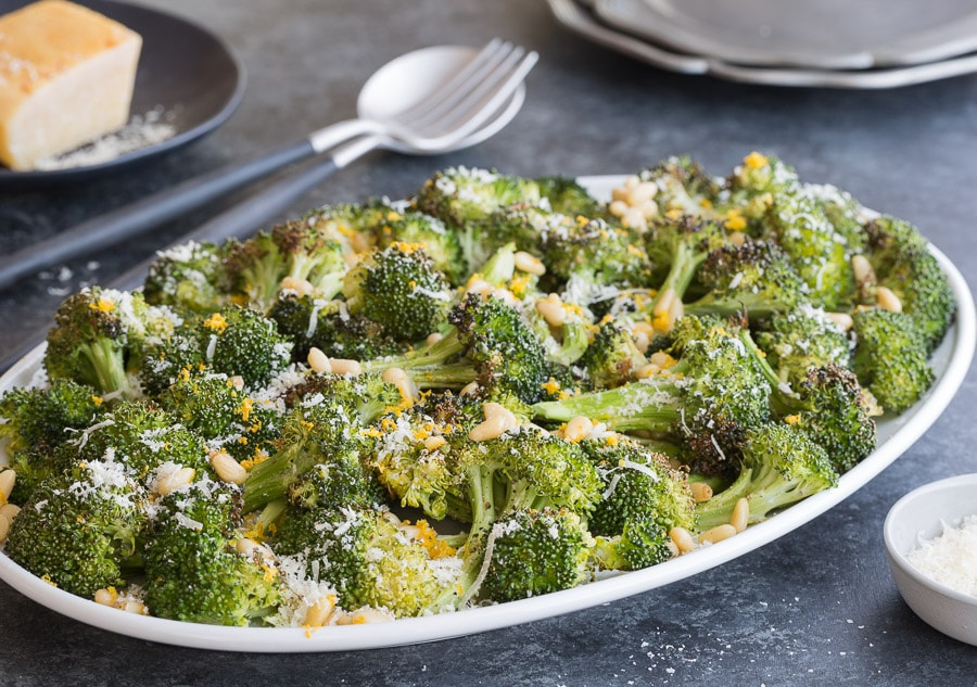 roasted broccoli with pine nuts | AFoodCentricLife.com
