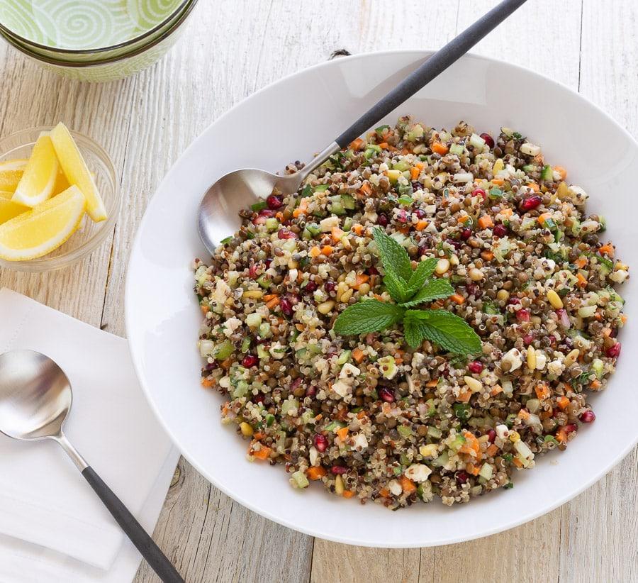 mediterranean lentil quinoa salad | afoodcentriclife.com