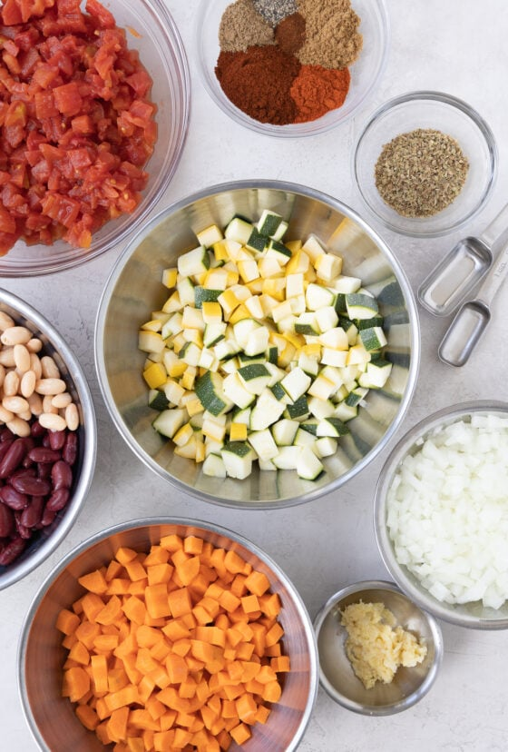 colorufl vegan chili ingredients in prepped in bowls | afoodcentriclife.com